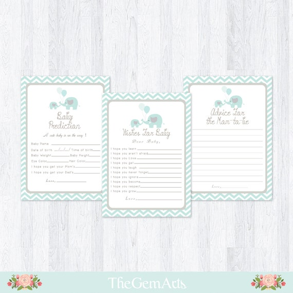 mint green elephant baby shower cards set 6 set cards advice for mom