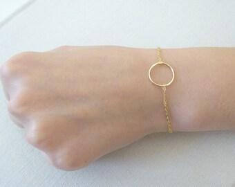 Circle Bracelet, Bridesmaid Bracelet, Friendship bracelet, karma bracelet gold fill, sterling silver