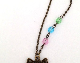 Owl Necklace, Collana Gufo, Beaded Owl Necklace, Antique Bronze Owl Pendant Necklace