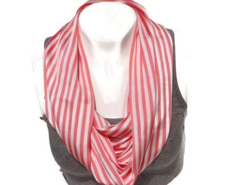 Pink and white striped infinity scarf, circle scarf, fabric infinity scarf, silky fabric scarf, fabric cowl, spring scarf, fashion scarf