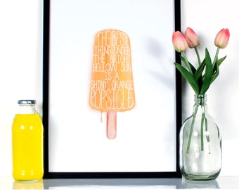 Childhood Memories - Popsicle Printable, Wall Decor, Home Decor, Artwork, A3, Digital Download.