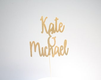 Personalized Name Cake Topper-Glitter Cake Topper - Wedding-Cake Topper- Gold Wedding-Silver Wedding-Rustic Wedding