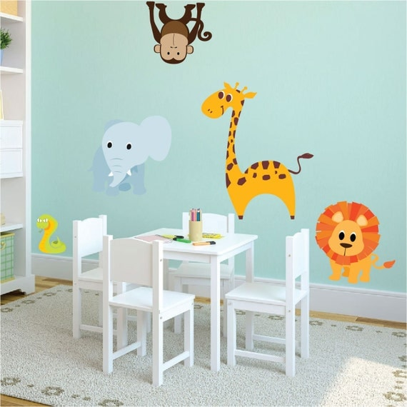 Nursery Zoo Animal Wall Decal Mural Kids Room Decals