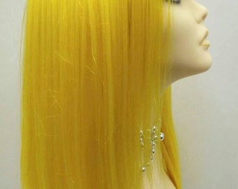 Long 20 inch Yellow Wig with Bangs. Cosplay Wig. Scene Wig. Festival Wig. [16-112-Partytime-Yellow]
