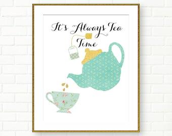 Printable Typography, Kitchen Art, Tea Time, Aqua Gold, Teal, Retro, Gold Foil Print, INSTANT DOWNLOAD, Kitchen Decor, Typography Print