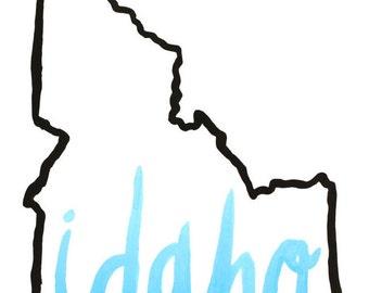 Black outline of Idaho Print