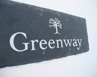Hand painted slate house signs, bespoke house plaque, house number, motif, personalised, house sign, modern traditional, door sign, home
