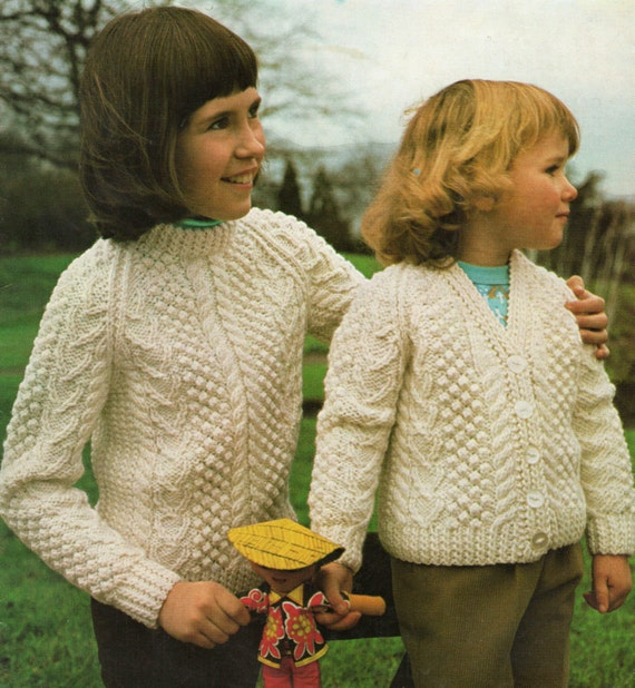 Childrens Aran Sweater and Cardigan Knitting Pattern 20