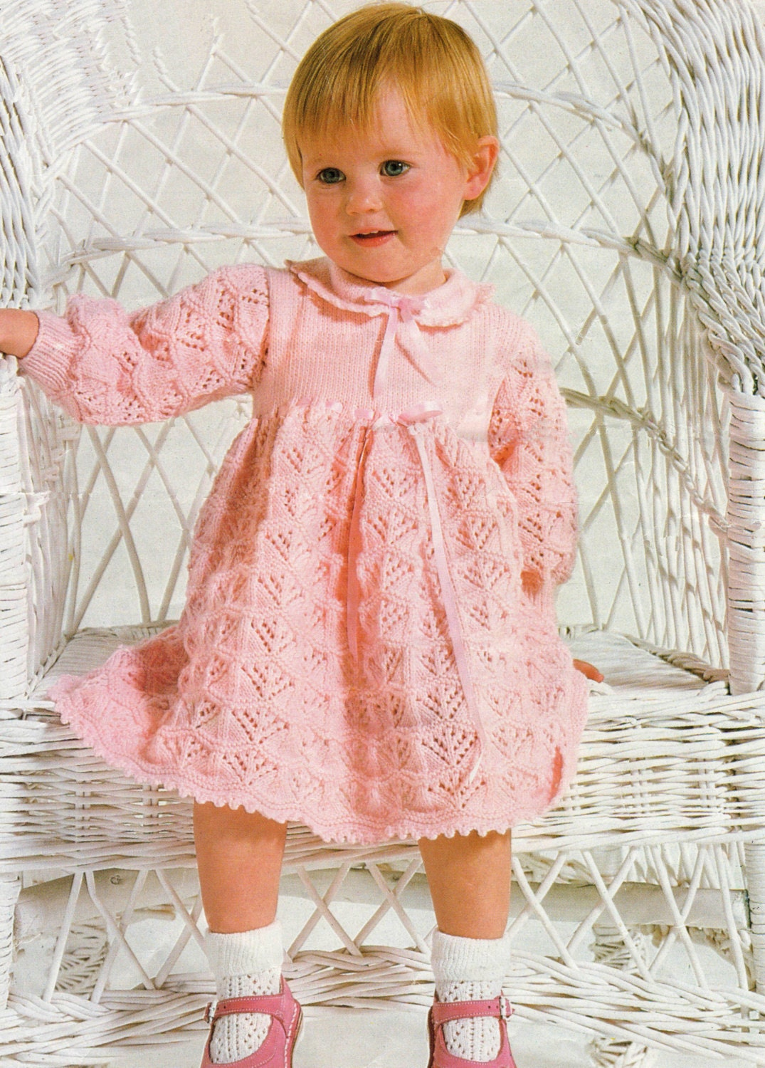 Baby Dress Knitting Pattern to fit 18 22 inch chest uses 4
