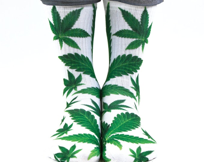 Samson® Ganja Leaf Sublimation Hand Printed Socks Weed Cannabis Marijuana Marihuana Pot Grass Quality Print UK