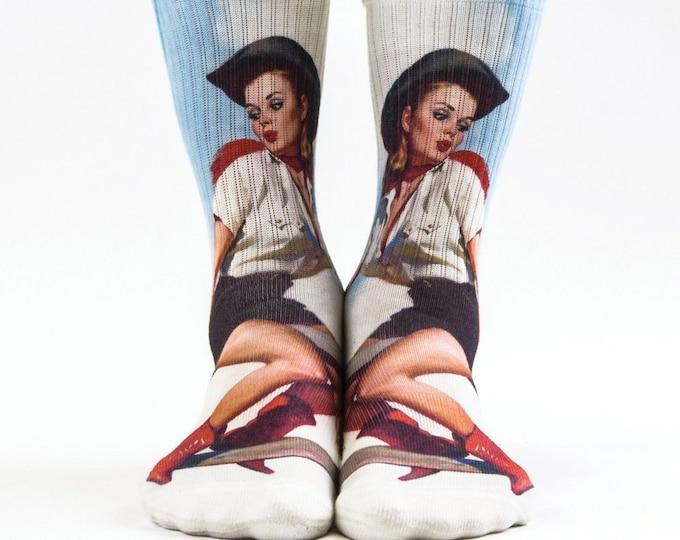 Samson® Cow Girl Sublimation Hand Printed Socks Countryside Cowgirl Blue Sky Quality Print UK