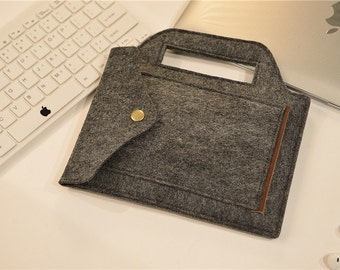 Dark Grey Felt Hanger iPad Mini Case, iPad 1/2/3 Case , iPad Mini Retina Case ,  iPad Mini Air Cover , iPad2 Case #233