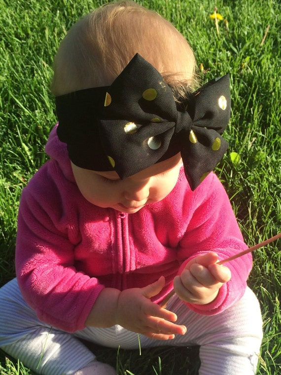 Black And Gold Baby Bow Headwrap Toddler Headband By