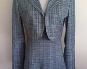 Blue 70's suit, vintage blue suit, blue dress, bolero jacket, career suit, S, M, empire waist dress