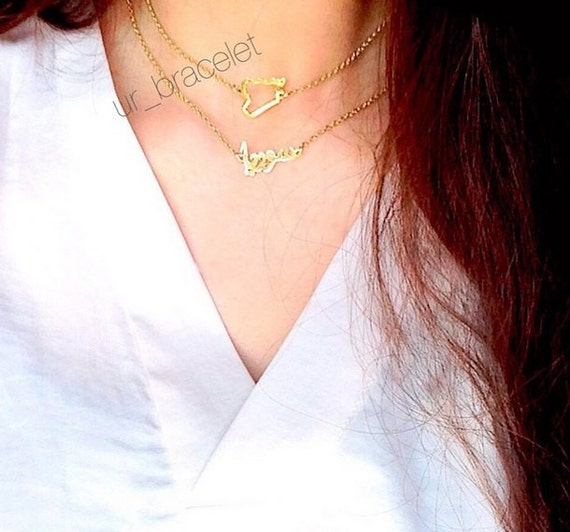 Syria map and Syria Necklace made of Sterling Silver-Custom map Necklace , سوريا ,handmade Jewelry, Gold plated