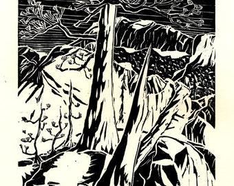 Woodblock print - High Sierra Pine