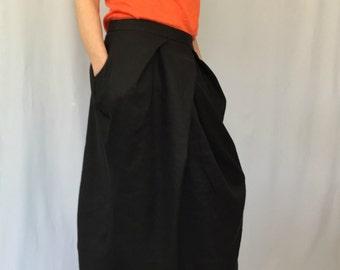 Black Linen Skirt / Navy Long Loose Linen Skirt / Oversize Summer Maxi Skirt with Pockets / EXPRESS SHIPPING / LA 2009