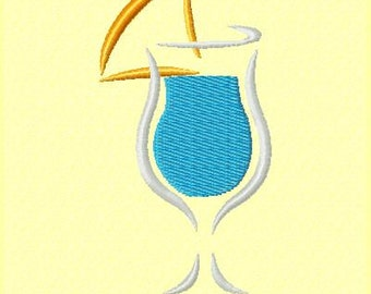 Stylized Blue Hawaiian Machine Embroidery Design