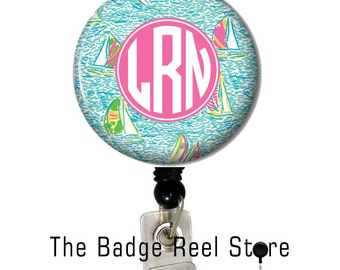 Badge Holder  - Retractable ID Badge Reel -  Badge Reel -  Preppy Boats