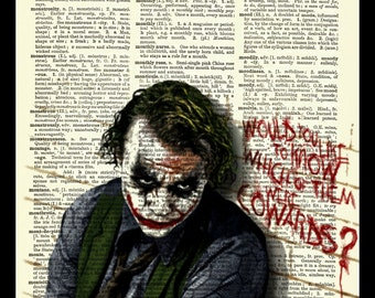The Joker (Heath Ledger) Dark Knight Upcycled Dictionary Art Print Poster