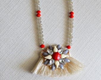 Crystal flower pendant. Fringe. Boho chic.
