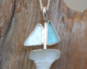 Sterling silver double sail seaglass sailboat pendant.