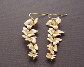 Orchid Earrings Long Drop Earrings Bridal Jewelry Flower Earrings Drop Dangle Earrings Wedding Earrings Bridesmaid Earrings Christmas Gift