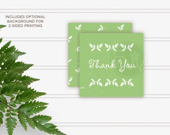 Simple mint green baby shower favor tags printable DIY thank you cards