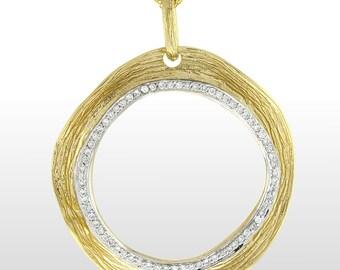 Diamond Pendant - 14k Yellow Gold Textured Diamond Pendant