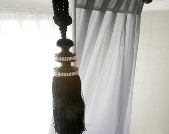 Gray Sheer Plain Curtain Drapery Voile Panel