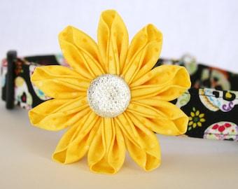 Yellow Dotted Fabric Kanzashi Daisy Flower Dog Collar Accessory
