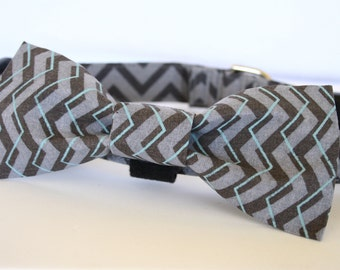 Grey and Blue Chevron Fabric Dog Bowtie