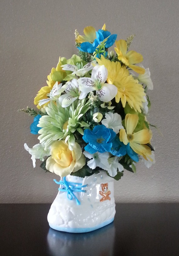 artificial flower arrangement baby shower gift baby boy baby girl