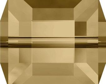 Swarovski Crystal Cube Beads 5601 - 4mm 6mm 8mm - Light Colorado Topaz