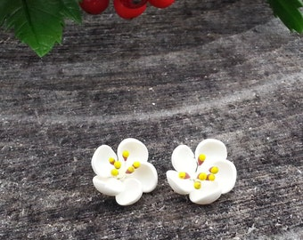 Light Viburnum Earrings Studs Posts, Viburnum Blossom, Spring Jewelry, Light White Jewelry, Viburnum Stud Earrings, Stud Earrings
