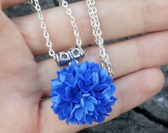 Blue Pendant - Floral Pendant - Ball Pendant - Lilac Pendant - Gift for her - Little Flowers Pendant - Cold porcelain Pendant