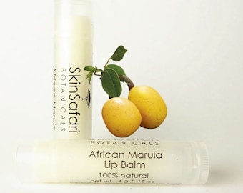 Lip Balm, African MARULA, Organic, Unscented, 100% pure and natural, unsweetened, hand-crafted, 4.2 gram or .15 oz.