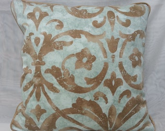 Decorative Corded  Pillow Cover with Blue Teal / Brown Cotton Fabric 16 x 16