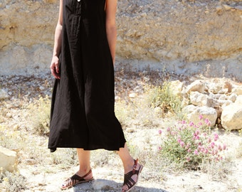 50 % OFF *** Minimal Lagenlook mid-calf dress black viscose,one size.
