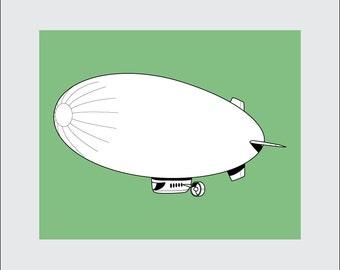Blimp Art Print, 8x10 PRINTABLE, Airship, Zeppelin, Instant Download, Digital