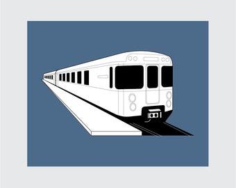 Subway Train Art Print, 8x10 PRINTABLE, Instant Download, Digital
