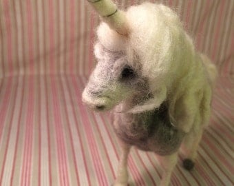 Needle felted unicorn, soft sculpture, wool unicorn, OOAK