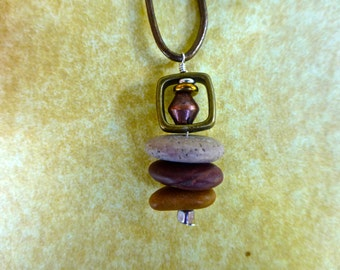 Three Stone Cairn with Square Mixed-Metals Pendant