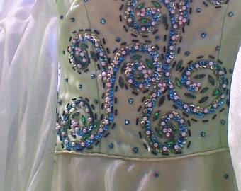 Beaded Sequins Chiffon Dance Costume