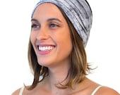 ENSO Steel Grey Women's Headband. Hand Dyed Organic Cotton Headband. Grey Twist Head Wrap. Versatile Headband for Crossfit & Yoga Head Wrap.