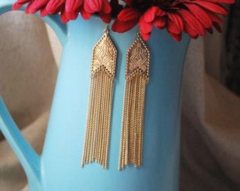 Golden goddess- Dangle Earrings, Drop Earrings, Gold Earrings, Statement Earrings