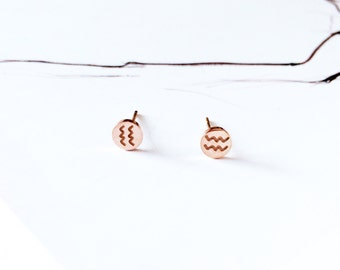 Aquarius Stud Earring 18K Rose Gold Horoscope Stud Earring Star Sign Earring Simple Everyday Earring Birthday Gift Horoscope Earring