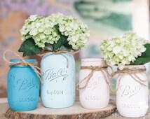 Painted Mason Jars Distressed Mason Jars Beach Wedding Rustic Decorations Wedding Centerpieces Flower Vases Beach Tones Summer Weddings