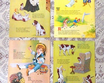 "SET OF FOUR Vintage Nursery Rhyme Prints/ Fabulous Colorful 8"" x 10""/  European Book/ Artist Eric Kincaid/ Child's Room/ Baby Nursery"