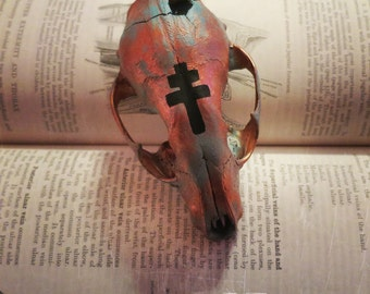 Witchy Painted Skull, Patina Finish, Oddity, Bone Art